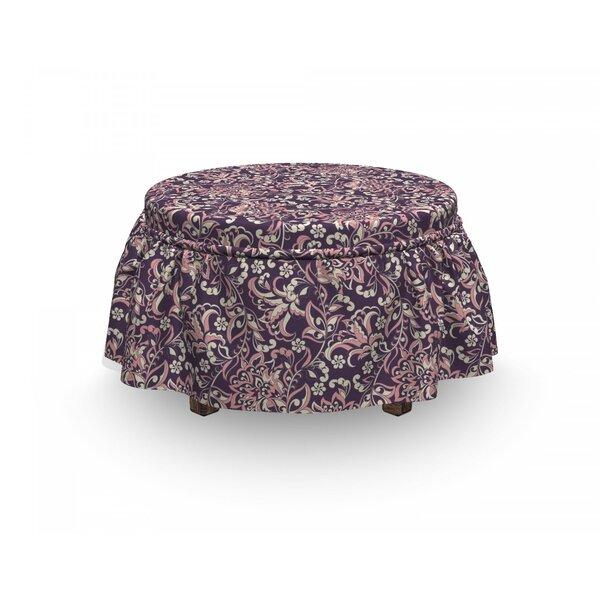 Sales Vintage Floral 2 Piece Box Cushion Ottoman Slipcover Set