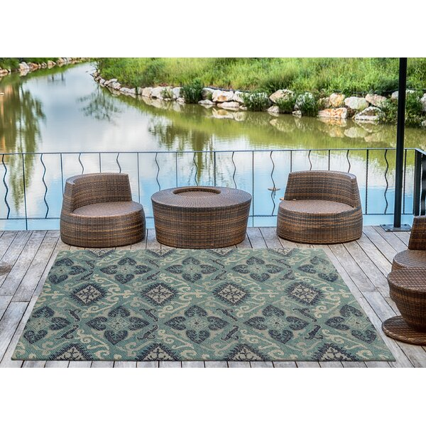 Dittmar Handmade Teal/Silver Indoor/Outdoor Area Rug by Charlton Home