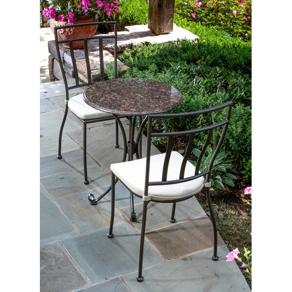 Ponza Granite 3 Piece Bistro Set with Cushions by Alfresco Home