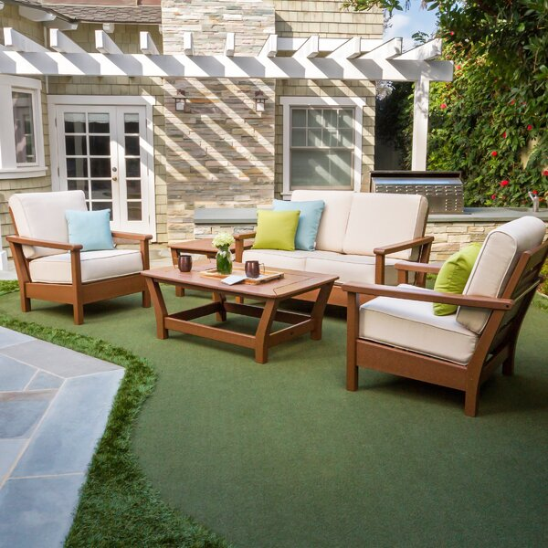 Harbour 4 Piece Sofa Seating Group with Sunbrella Cushions