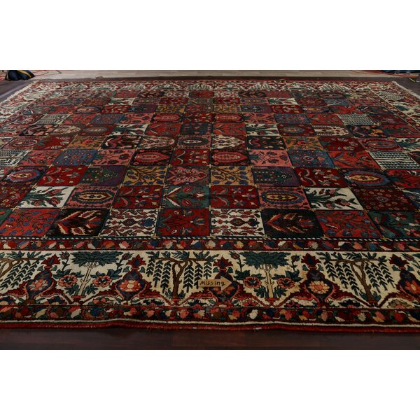 One-of-a-Kind Hand-Knotted 1910s Bakhtiari Red/Blue 13'5 x 17'1 Wool Area Rug