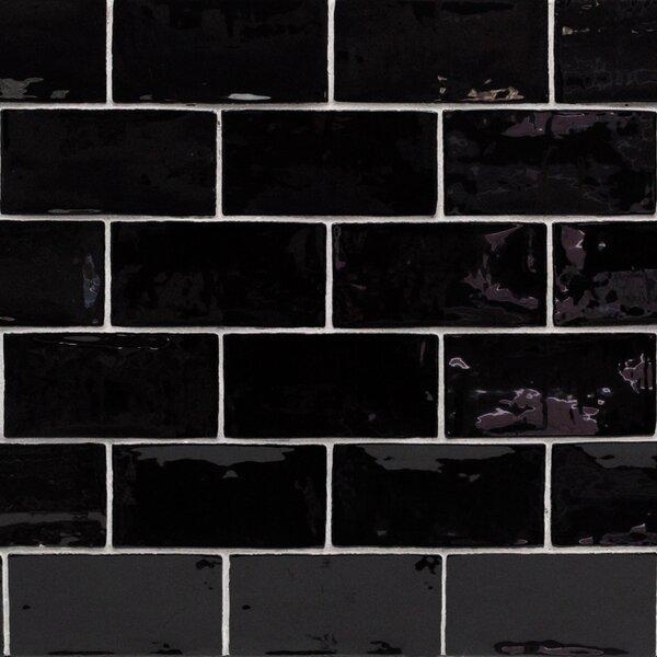 Catalina 3 x 6 Porcelain Subway Tile in Black by Splashback Tile