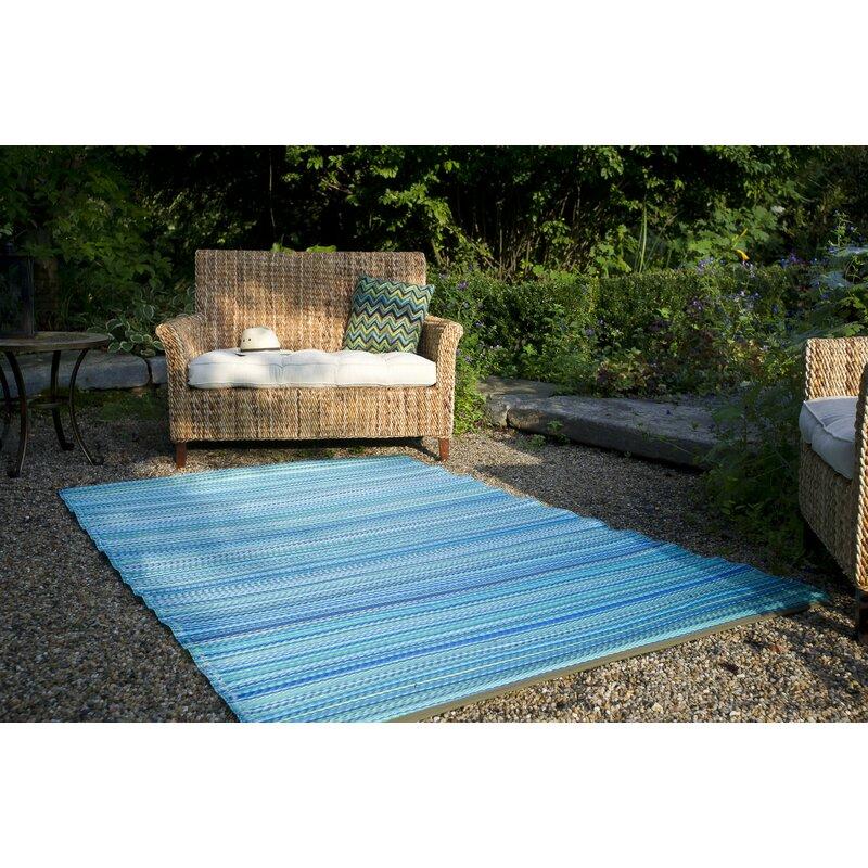 Marianne Turquoise Moss Green Stripe Indoor Outdoor Area Rug