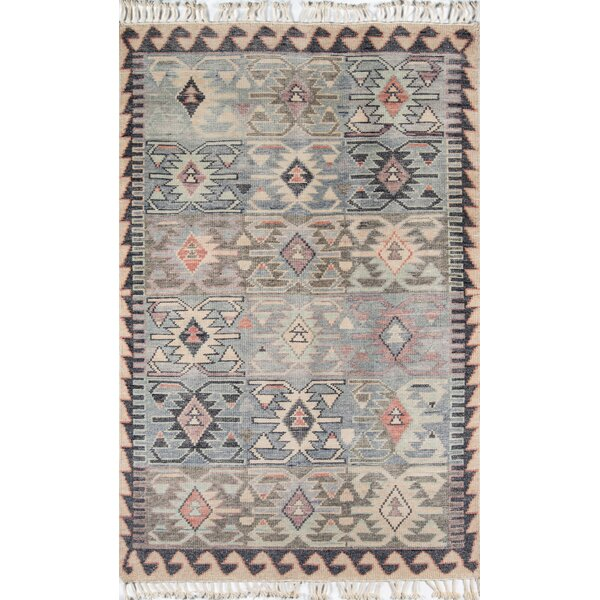 Chenoweth Hand-Knotted Wool Blue Area Rug by Bungalow Rose