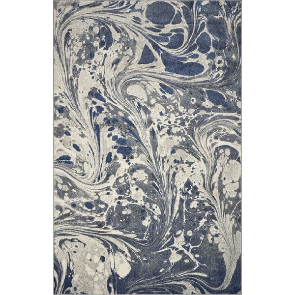 Strouth Marble Gray/Navy Area Rug by Wrought Studio