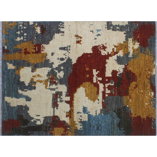 Merchant Hand-Knotted Wool Blue Area Rug by Ebern Designs