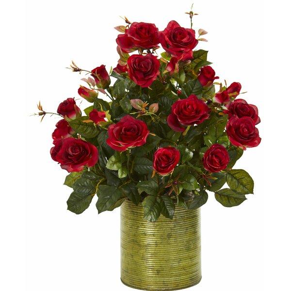 Artificial Garden Rose Centerpiece in Planter by Charlton Home