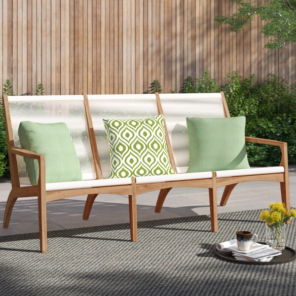 Jamilla Teak Patio Sofa with Cushions by Foundstone Foundstone