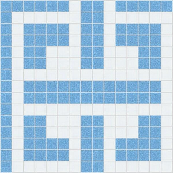 Urban Essentials Geometric Lattice 3/4 x 3/4 Glass Glossy Mosaic in Lakefront Blue by Mosaic Loft