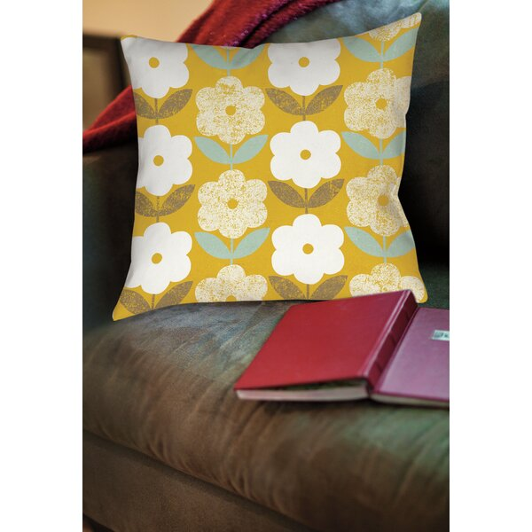 Jar of Sunshine Vintage Blossoms Printed Throw Pillow by Manual Woodworkers & Weavers