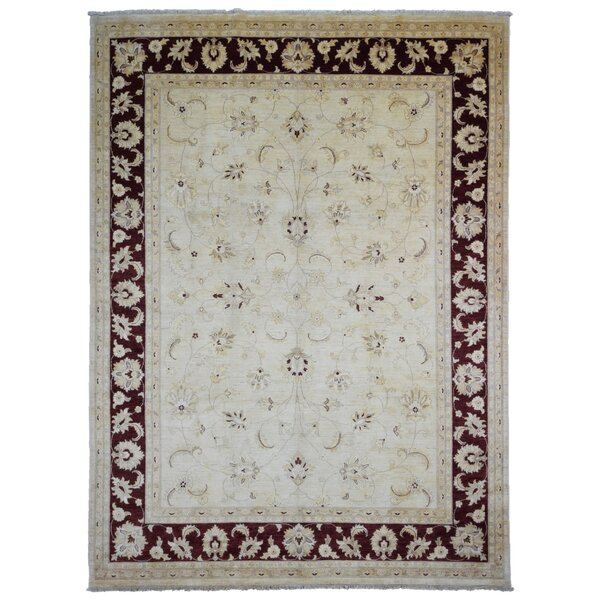 One-of-a-Kind Craven Pakistan Peshawar Oriental Hand-Woven Wool Beige/Dark Brown Area Rug by Isabelline