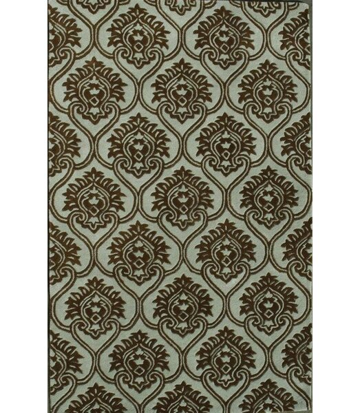 Prima Light Blue / Dark Brown Area Rug by Noble House