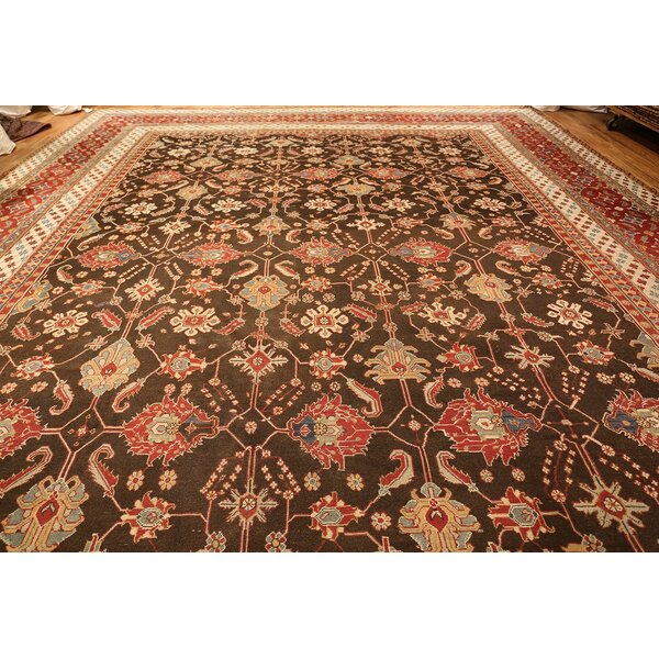 One-of-a-Kind Agra Hand-Knotted 1900s Brown 15'2 x 23'8 Wool Area Rug