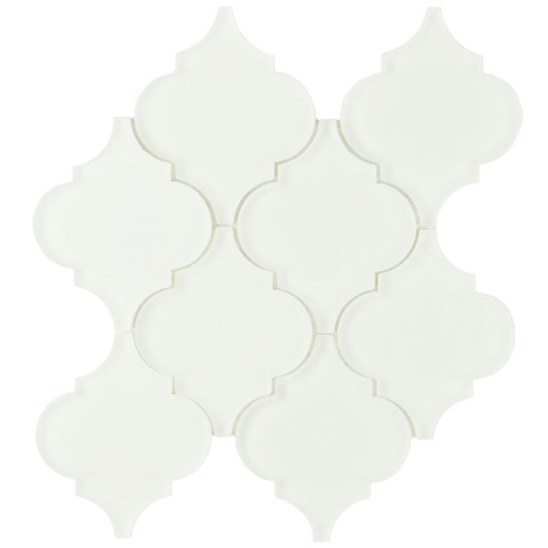 Linterna 3.5 x 4.25 Glass Mosaic Tile in Frosted Ice white by EliteTile
