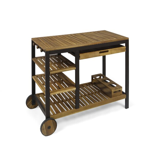 Beatriz Indoor Wood and Iron Bar Cart by 17 Stories
