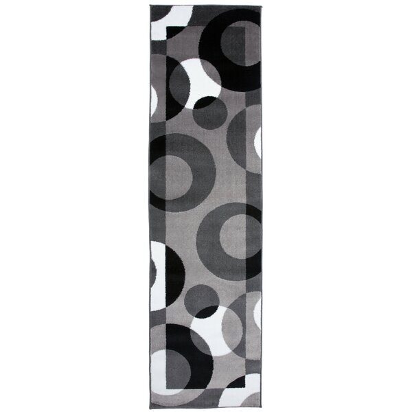 Allison Slade Circles Gray Area Rug by Ebern Designs