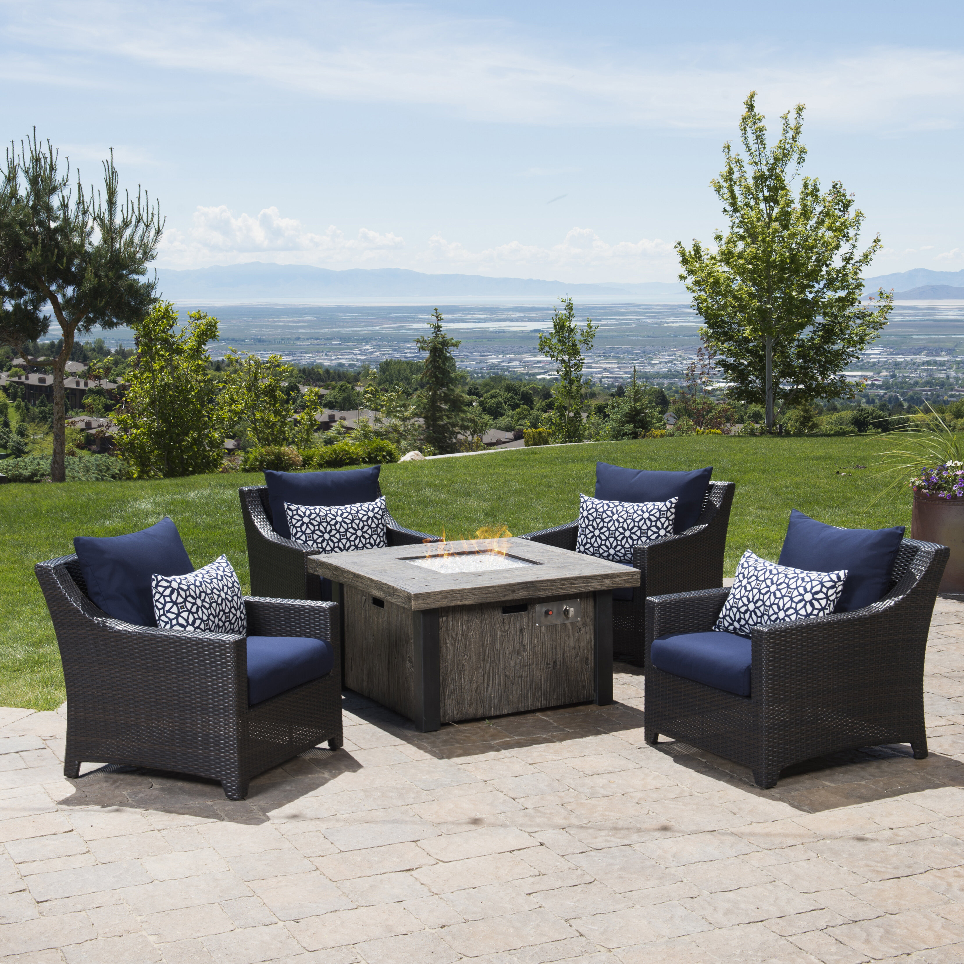 Delicieux Three Posts Northridge 5 Piece Rattan Sunbrella Conversation Set With  Cushions U0026 Reviews | Wayfair