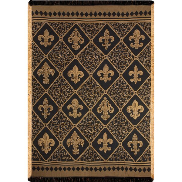 Fleur-de-lis Damask Throw by Manual Woodworkers & Weavers