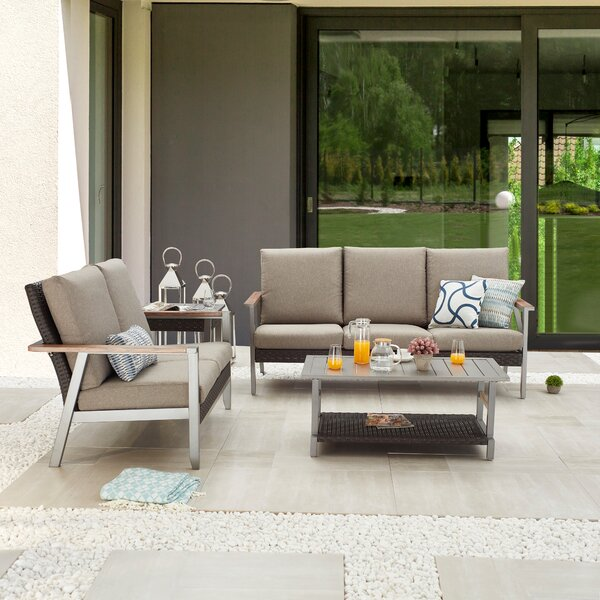 Seval Outdoor 4 Piece Sofa Seating Group with Cushions by Latitude Run