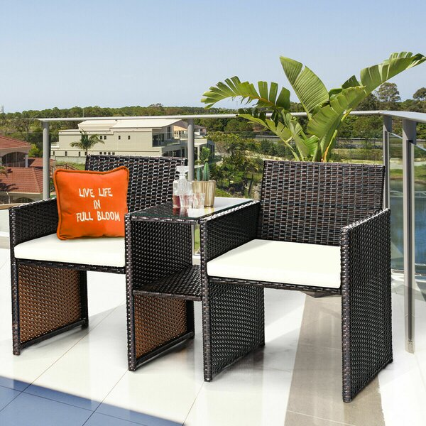 Marcelino 3 Piece Rattan Seating Group with Cushions by Wrought Studio