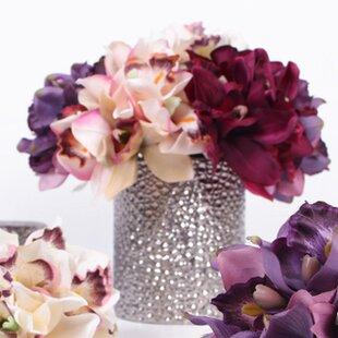 Purple flower arrangements youll love wayfair luxury silk cymbidium orchid bouquet flower floral arrangements mightylinksfo