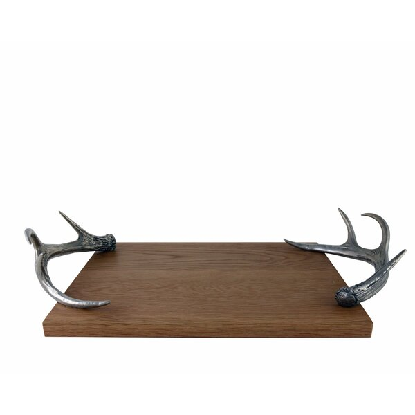 Lodge Cheese Serving Tray With Pewter Antler Handles By Vagabond House by Vagabond House New Design