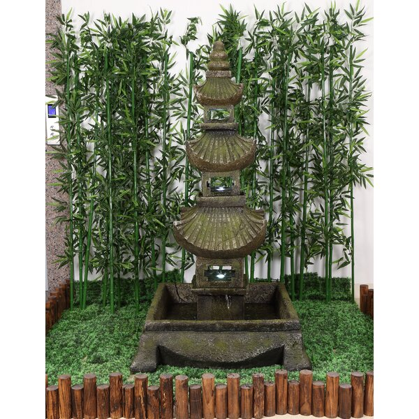 Resin Pagoda Fountain with Light by Hi-Line Gift Ltd.