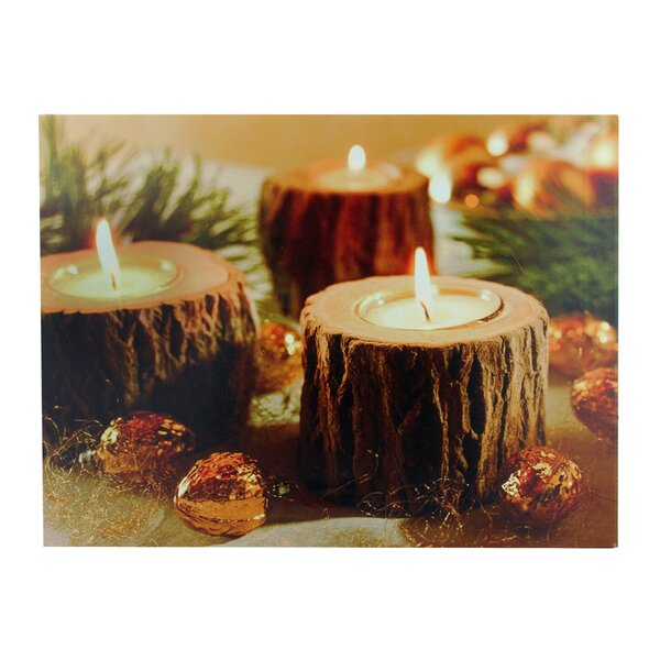 Battery Operated 3 LED Wooden Candle Scene Photographic Print on Canvas by Northlight Seasonal