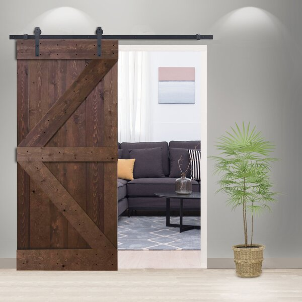 Solid Wood Panelled Pine Slab Interior Barn Door b