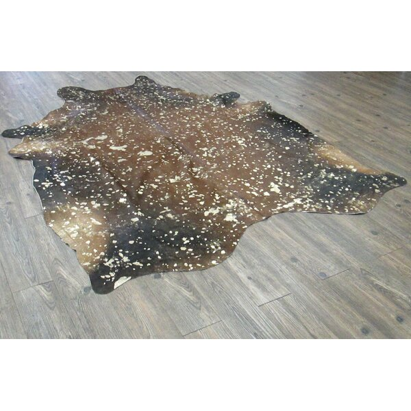 Shery Hand-Woven Cowhide Brown/Black Area Rug by 17 Stories