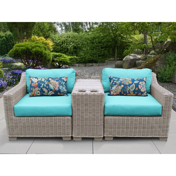 Claire 3 Piece Conversation Set with Cushions by Rosecliff Heights