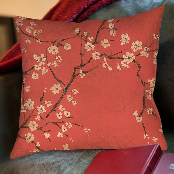 Golden Cherry Blossom Printed Throw Pillow by Manual Woodworkers & Weavers