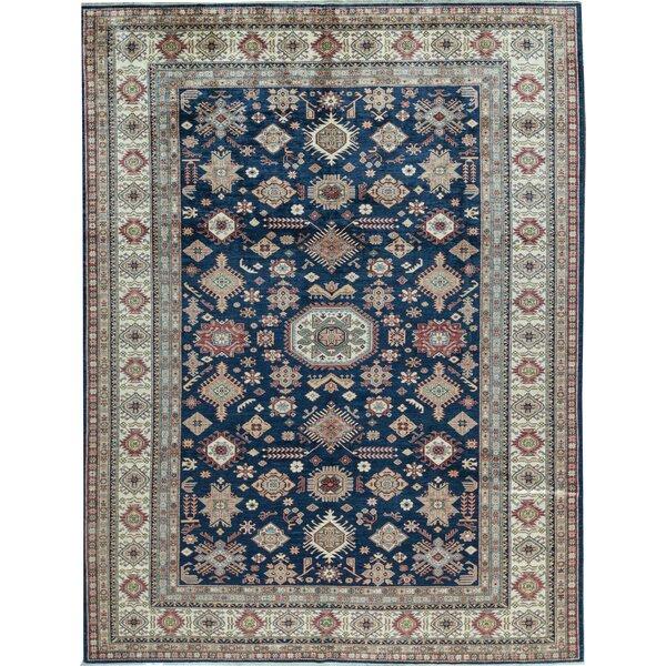 Kazak Oriental Hand-Knotted Wool Blue/Beige Area Rug