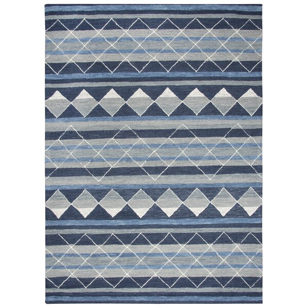 Broadlands Hand-Tufted Wool Blue Area Rug by Foundry Select