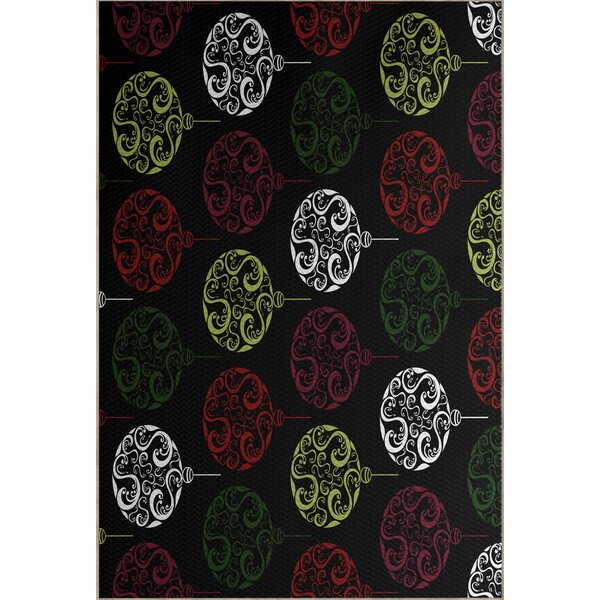 Black Painterly Bulbs Geometric Print Indoor/Outdoor Area Rug by House of Hampton