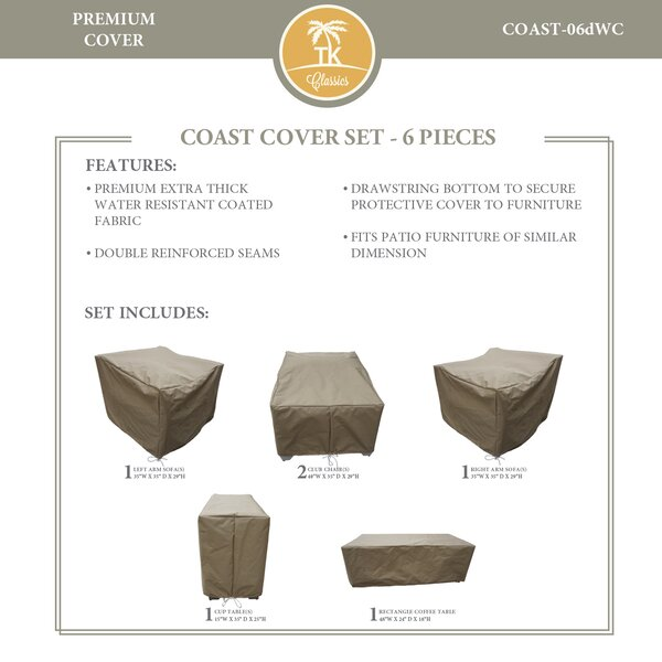 Coast Protective 6 Piece Water Resistant Patio Furniture Cover Set by TK Classics