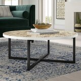 Abba Solid Wood Cross Legs Coffee Table with Storage by Mistana™