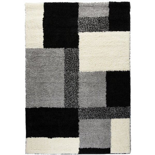 Madison Shag Black Cubes Area Rug by Well Woven