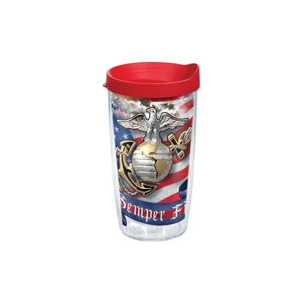 Patriotic Marines Eagle And Anchor 16 oz. Plastic Travel Tumbler by Tervis Tumbler