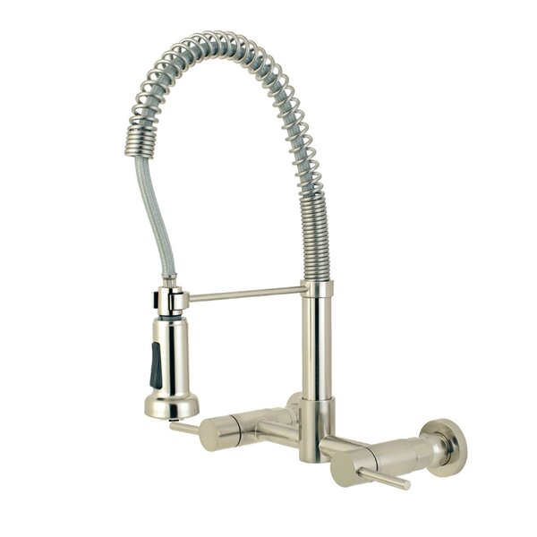 Concord Wall Mount Pull Down Bridge Faucet with Side Sprayer by Kingston Brass