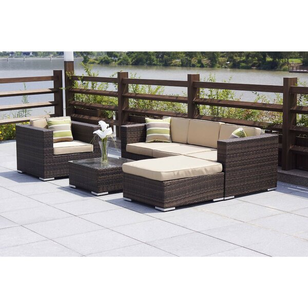 Rios 6 Piece Rattan Sectional Set with Cushions by Brayden Studio