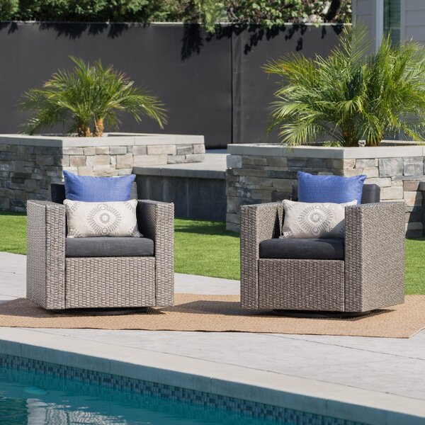 Furst Outdoor Wicker Swivel Club Chair with Cushions by Wade Logan