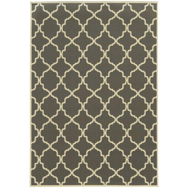 Heidy Geometric Gray/Ivory Stain Resistant Indoor/Outdoor Area Rug by Zipcode Design