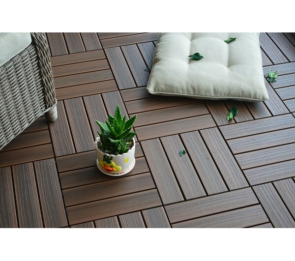 Composite Walnut 12 x 12 Interlocking Deck Tiles b