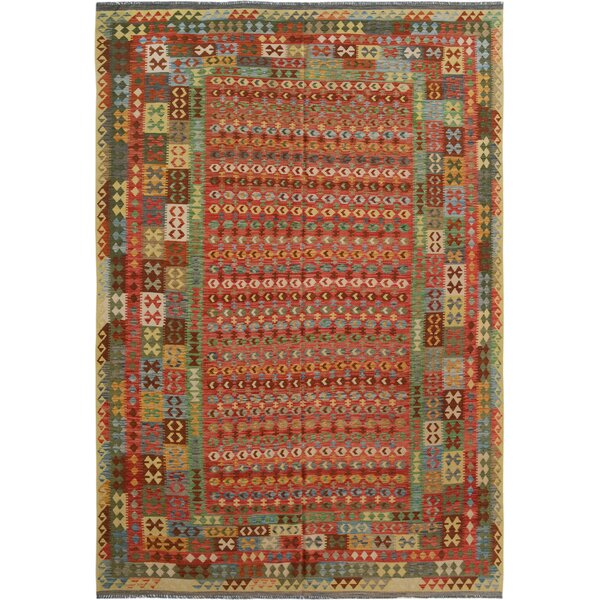 Rosalina Handmade-Kilim Wool Red/Green Fringe Area Rug by Bloomsbury Market