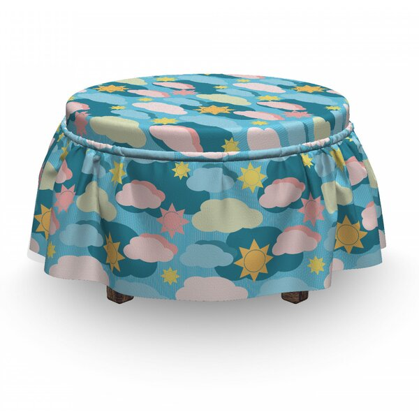 Graphic Clouds Suns Ottoman Slipcover (Set Of 2) By East Urban Home