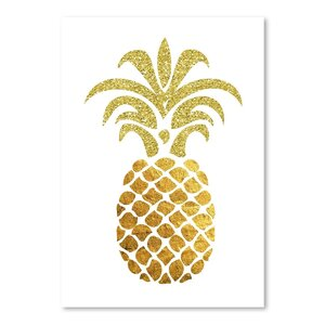 Pineapple 4 Graphic Art in Gold/White by East Urban Home