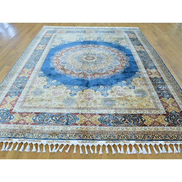 One-of-a-Kind Benally Denim Hand-Knotted Blue Silk Area Rug by Isabelline