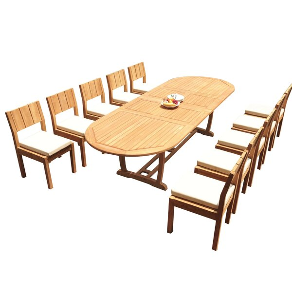 Jamar 11 Piece Teak Dining Set by Rosecliff Heights