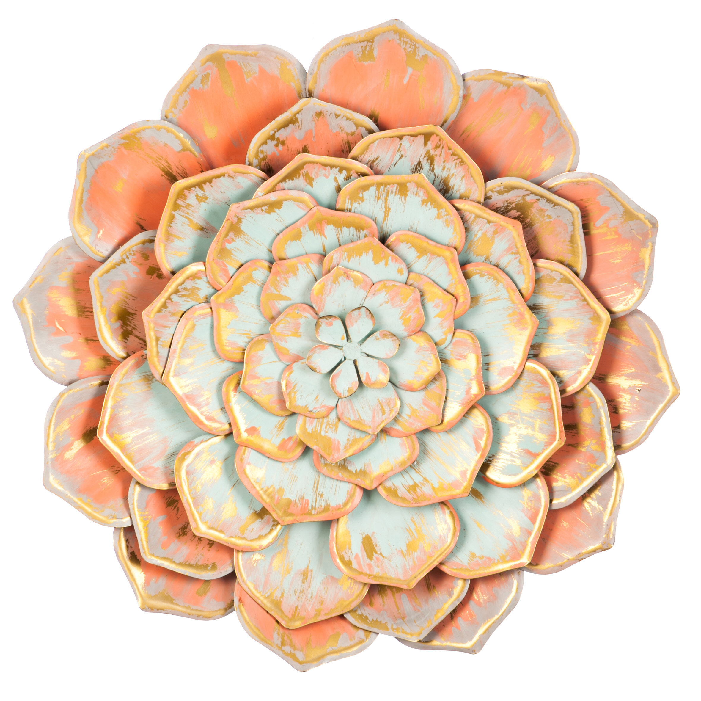 Bungalow Rose Multiple Layer Large Metal Flower Wall Décor & Reviews ...